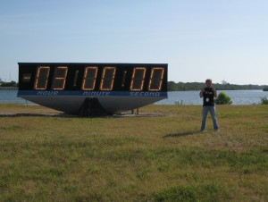 Posing in front of the Nasa countdown clock, just a few hours before Atlantis (STS-132) took off for its final mission.